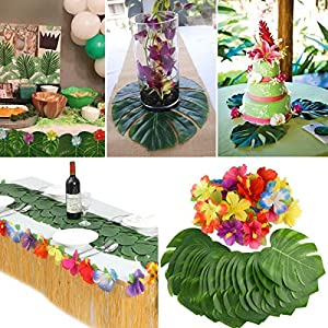Home and Gardent 60Pcs Tropical Artificial Palm Leaves Hawaiian Hibiscus Flowers Wedding Birthday Party Decoration Table Decorations