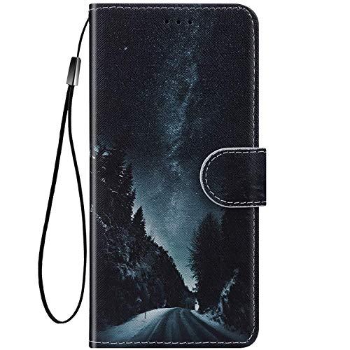 Felfy Kompatibel mit Nokia 2.1 2018 Hülle Bunte Painted Muster Schutzhülle,Handyhülle für Nokia 2.1 PU Lederhülle Magnet Klapphülle Tasche mit Kartenfach/Standfunktion - Sternenhimmel