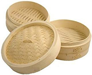 JapanBargain S-2224, Chinese Bamboo Steamer Steaming Basket for Vegetable Seafood Dim Sum Dumpling Bun Egg , 12-inch
