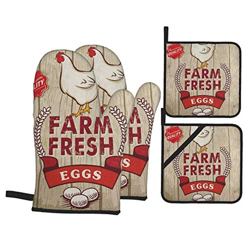 N\ A Oven Mitts and Potholders Set of 4 Retro Fresh Egg Rooster On Wooden Vintage Oven Mitt Heat Resistance Pot Holders Cotton Non-Slip Cooking Gloves Baking Kitchen Counter Safe Trivet Mats BBQ
