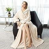 XJJZS Flannel Albornoz vestido de noche con capucha con capucha con capucha extra larga túnica gruesa tibia de invierno de invierno para mujer Bata suave Bata de baño de talla grande vestido de aderez
