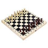 Sanhai Conjunto de ajedrez, Conjunto de Tablero de Juego de ajedrez estándar de Madera magnética Plegable con Piezas de Madera y tragamonedas de Almacenamiento de ajedrez,39x39x2.5cm