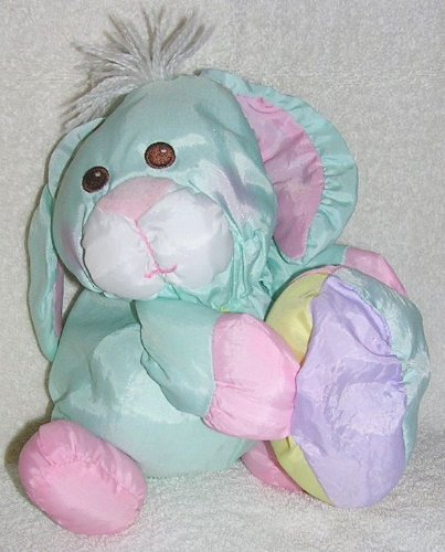 Fisher Price Puffalumps 10' Pastel Green Easter Bunny Rabbit Holding Egg Puffalump Doll