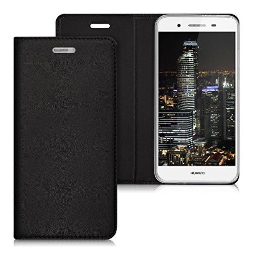 kwmobile Huawei GR3 / P8 Lite SMART Hülle - Kunstleder Handy Schutzhülle - Flip Cover Case für Huawei GR3 / P8 Lite SMART - Schwarz