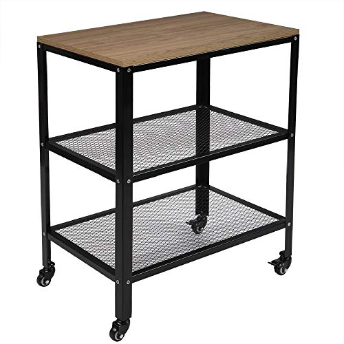TUFFIOM 3-Tier Kitchen Microwave Cart, Rolling Kitchen Utility Cart, Standing Bakers Rack Storage Cart with Metal Frame for Living Room (Grey)