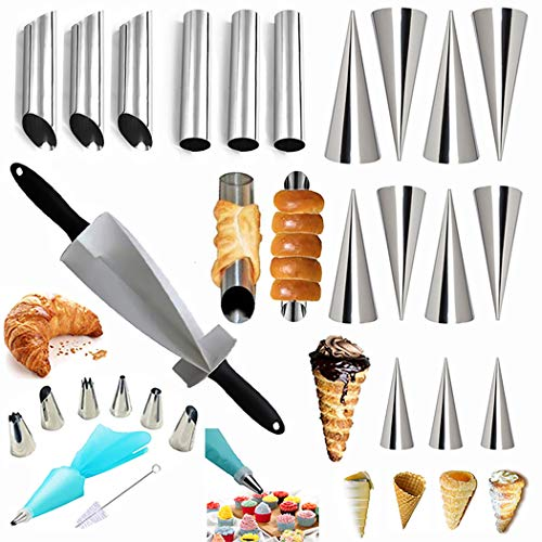 Cannoli Tubes Cake Decorating Kits& Croissants Cutter for Pastry Dough, Cannoli Mold Forms Non-stick Cream Horn Danish Pastry Molds Cone Tubes for Croissant Shell Cream Roll
