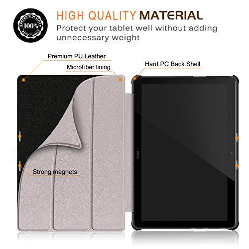 Xuanbeier Ultradünne Hülle Kompatibel mit Huawei MediaPad T5 10 Magnetisch Schutzhülle mit Ständer Funktion, Hirsch