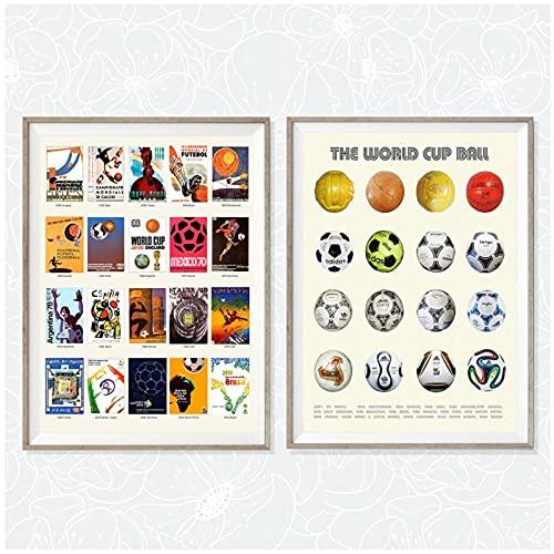 LIUYUEKAI Imagen de balón de fútbol de la historia de la Copa del mundo impresa en lienzo póster de arte de pared para decoración de dormitorio-40x50cmx2 sin marco