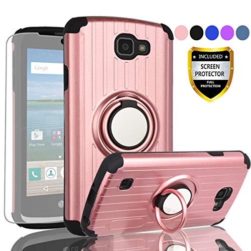 AYMECL Compatible for LG Optimus Zone 3 Case,LG Spree Case,LG K4 VS425 Case,with HD Screen Protector,360 Degree Rotating Ring Holder Travel Scratchproof Cover for LG K4(2016)-SH Rose Gold