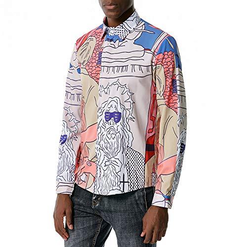 WBLKD Camisa para Hombre Camisa De Moda De Estilo De Estilo De Palacio Europeo De Impresión De Manga Larga