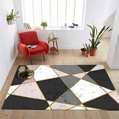 Decoración de alfombras de Juegos para niños Alfombras Salon Grande Mármol de imitación de Barra de Oro Negro Rosa geométrico nórdico de moda160x230cm(5'3''x7'7'')