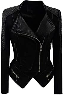Sayah Womens Suede Nap Plus Size Full-Zip Outwear PU Leather Jackets