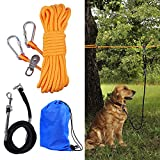 HQQNUO Dog Tie Out Cable, 50ft Dog Tie Out Trolley System with 6.5ft Dog Runner Cable for Yard Camping Outdoor, Heavy Duty Dog Tie Out Cable for Large Medium Small Dogs Up to 200lbs