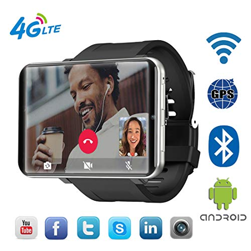 """Mstrrouning 4G LTE Smart Watch Phone, Android 7.1 OS 2.86"""" Touch Screen MTK6739 3+32GB HD 5MP GPS WiFi Heart Rate Monitor Smartwatch for Men Women (Black)"""