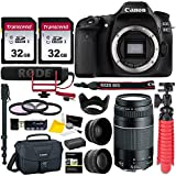 Canon EOS 80D DSLR Camera Body, Canon 75-300mm III Lens, Rode VideoMic Go, Two Transcend 32GB Cards, Canon 200ES Bag, Spare Battery Accessory Bundle