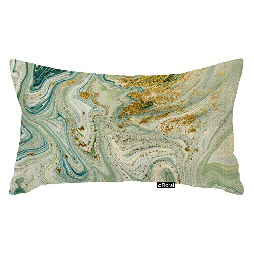 oFloral Throw Pillow Cover Watercolor Marbled Blue Green and Golden Abstract Liquid Marble Pattern Gold Ink Decorative Pillow Case Home Decor Rectangle 12x20 Inches Pillowcase