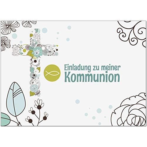 15 x Einladungskarten Kommunion mit Umschlag/Moderne Details Türkis mit Fisch/Kommunionskarten/Einladungen zur Feier