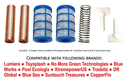Replacement Copper-Silver Anode - 43% Larger - Compatible with Lumiere, Toysplash, No More Green Technologies, Blue Works, Pool Ecologix, XtremepowerUS, Tradeitz, DR Global, Blue Sea, Coppeflo brands