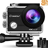 Foto Crosstour Action Cam 4K, WIFI Sport Action Camera 170° Grandangolare 2.0 Pollici con Due Batterie 1050mAh e Kit di Accessori di Montaggio