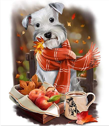 Apple café perro animal paisaje pintura diy digital pintura al óleo regalo único para decoración del hogar Artwork40 * 50 cm
