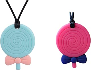 MEGODAY Sensory Chew Necklace for Boys & Girls & Adult - Chewlery for Autism ADHD - Oral Motor Chewing Biting Teething Needs Chewlery (Lollipop - 2pcs)