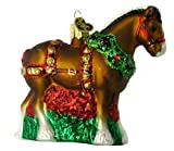 Old World Christmas Ornaments: Holiday Clydesdale Glass Blown Ornaments for Christmas Tree