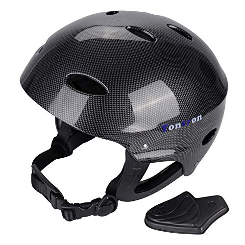 Tontron Adult Whitewater Kayaking Canoeing Watersports Helmet (Gloss Black Fiber Forest, Large)