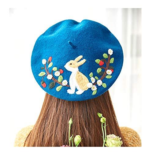 EU-KANGSHUAI Novia del Regalo del día del Sombrero de Lana Hecha a Mano Original Boinas de Fieltro Creativo de Las Mujeres Valentine Animal Informal Pintor Lindo Sombrero