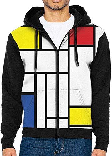 xinfub Herren 3D-Druck De Stijl Modern Art Sweater Zip Hoodie