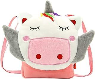 VALICLUD Unicorn Crossbody Bag Novelty Shoulder Bag Children Plush Handbag Purses Gifts for Girls Women Work School Birthd...