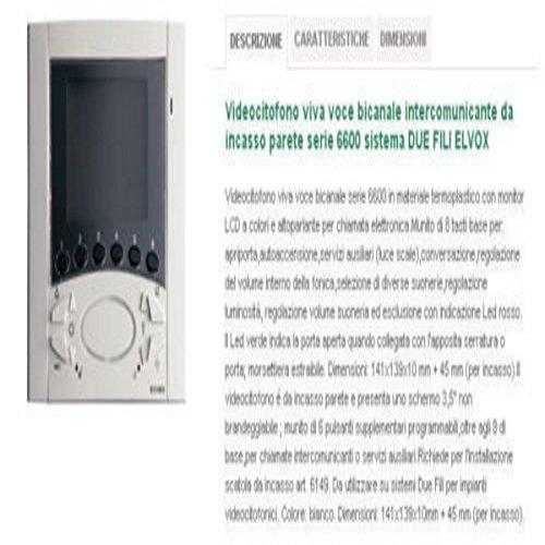 ELVOX 6611 - VIDEOCITOFONO DUE FILI INTERCOM. BIANCO