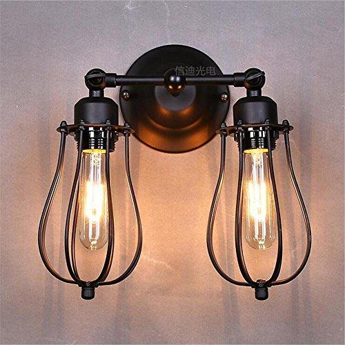 NIHE E27 balcon chambre créatif salon lampe rétro lampe murale lampe de chevet en fer forgé à deux têtes