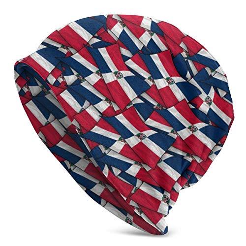 U Shape Dominikanische Republik Flagge WaveUnisex Frauen Männer Slouchy Beanie Hut Übergroße Baggy Skull Cap Stretchy Strickmütze