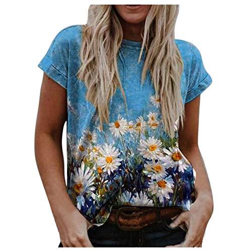 Hunpta @ T-Shirt Damen Oberteile Sommer Elegante Vintage Drucken V-Ausschnitt Gedruckt Kurzarm Mode Lose Tops Sweatshirt Bluse Tunika Weste Oversize Shirt