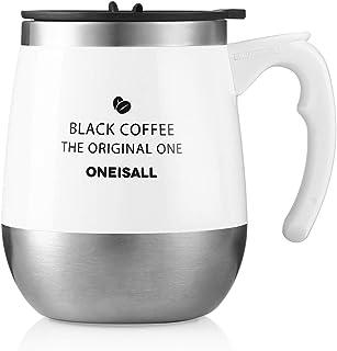 保温マグカップ ONEISALL タンブラー 450ML 専門店 真空断熱タンブラー コーヒー用ボトル 蓋付きカップ おしゃれ 彼女、彼氏にプレゼント 恋人 学生にギフト(ホワイト)