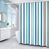 XEUYUTR Blue Fabric Shower Curtains for Bathroom, Romantic Striped Shower Curtain, Waterproof Shower Curtain, Blue Shower Curtain Support Machine wash(72In x 72In, Striped Blue)