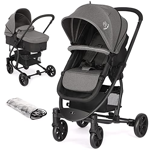 Birtech Pram Pushchair Travel System Stroller Foldable Lightweight with Rain Cover and Footmuff, Carrycot, Convertible to Reversible Seat, Lying Position, Lying Function, from Birth to 3 Years, Grey