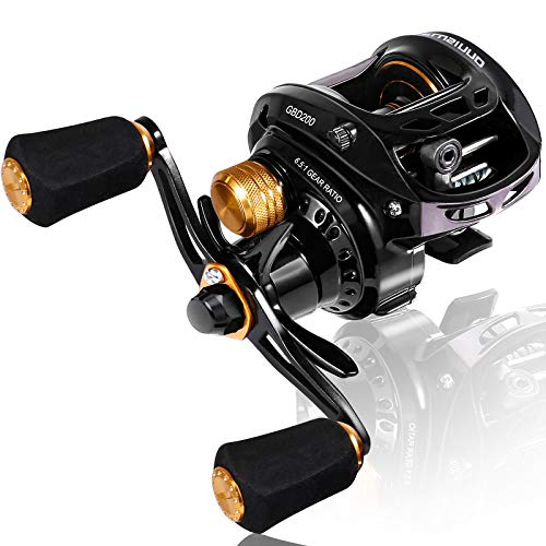PLUSINNO Elite Hunter Fishing Baitcasting Reels, 6.5:1 Gear Ratio Super Smooth Baitcast Reel with Magnetic Braking System,5 + 1 Ball Bearings Anti-Corrosion Baitcaster Reel