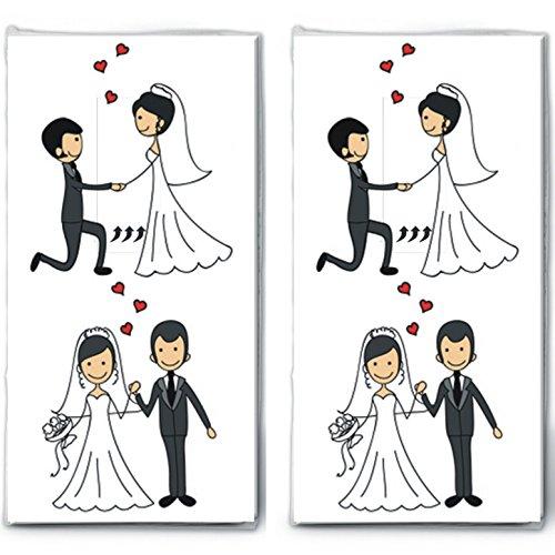 20 Taschentücher (2x 10) Married Couple - Verliebtes Hochzeitspaar/Hochzeit/Freudentränen