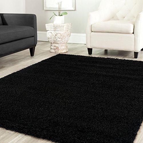 Shaggy Teppich Farbe Hochflor Langflor Teppiche Modern für Uni Farben, Farbe:Schwarz, Maße:140x200 cm