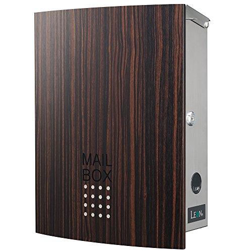 LEON (レオン) MB4504ネオ 郵便ポスト 壁掛けタイプ ステンレス製 鍵付き おしゃれ 大型 ポスト 郵便受け (マグネット付き) 木目調エボニーウッド