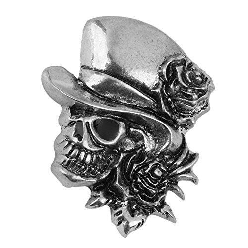 ARMAC Broche de calavera de Halloween para hombre y mujer, broche de calavera rosa-plata
