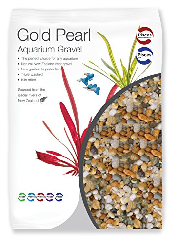 Pisces Gold Pearl 4.4lb Gravel Substrate for Aquariums,...