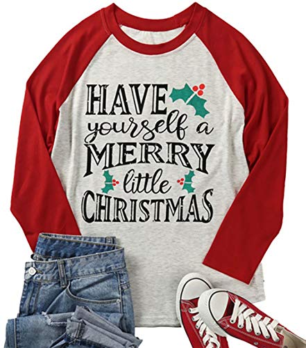 Plus Size Women Christmas Printed 3/4 Raglan Sleeve Blouse Top T-Shirts