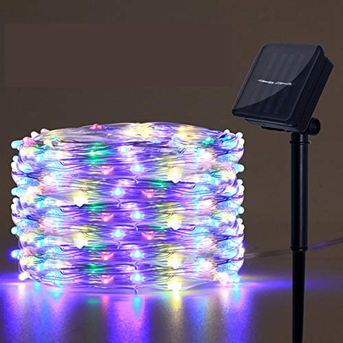Solar Powered String Lights, 100 LED Copper Wire Lights, Fairy Lights, Indoor Outdoor Waterproof Solar Decoration Lights for Gardens, Home, Dancing, Party, Christmas, Multicolor, Solar