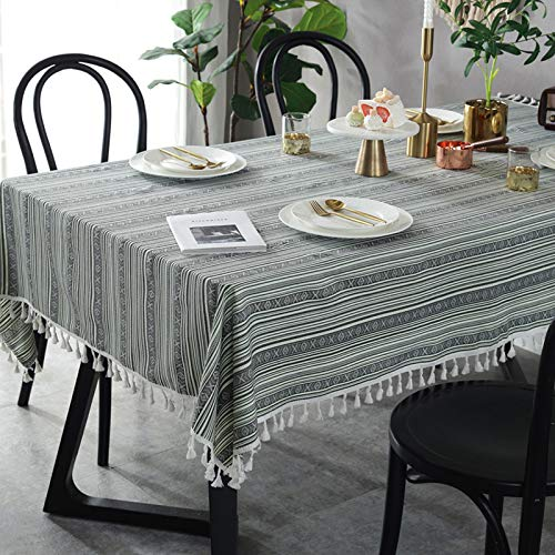 HTUO Home Decoration Tablecloth Christmas Decoration Washable Table Cover Striped Tablecloth Grey-green Striped Fringed Table Cloth Buffet Decoration 100 * 140cm