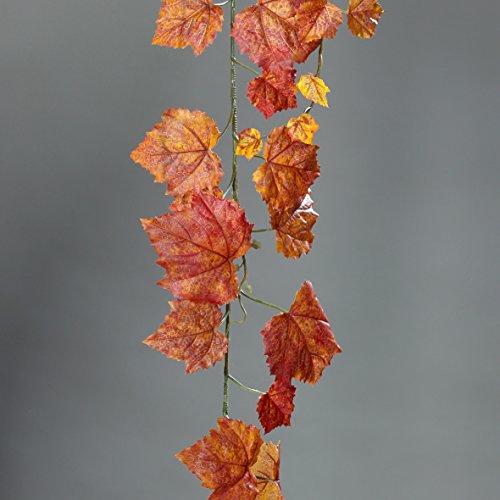 mucplants Künstliche wunderschöne Wein-Girlande Orange 180cm, Weinranke in verschiedenen Orangetönen, Kunstpflanzen, Dekopflanzen