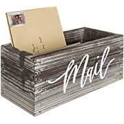 MyGift Rustic Torched Wood Tabletop Decorative Mail Holder Box with Letter Script Design
