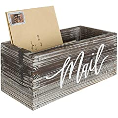 Wooden decorative storage box with the word MAIL scripted on the front Perfect for organizing your mail, letters, and important documents Compact size ideal for display on desks, tables, or counter tops Rustic wood style complements modern home and o...