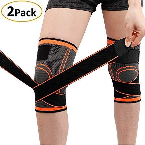 Lazzon Tutore per ginocchio Regolabile Ginocchiera Legamenti Crociati Menisco Compressione Antiscivolo Fascia Rotulea Supporto per Sport, Joint, Running (XL, Arancione (2PC))